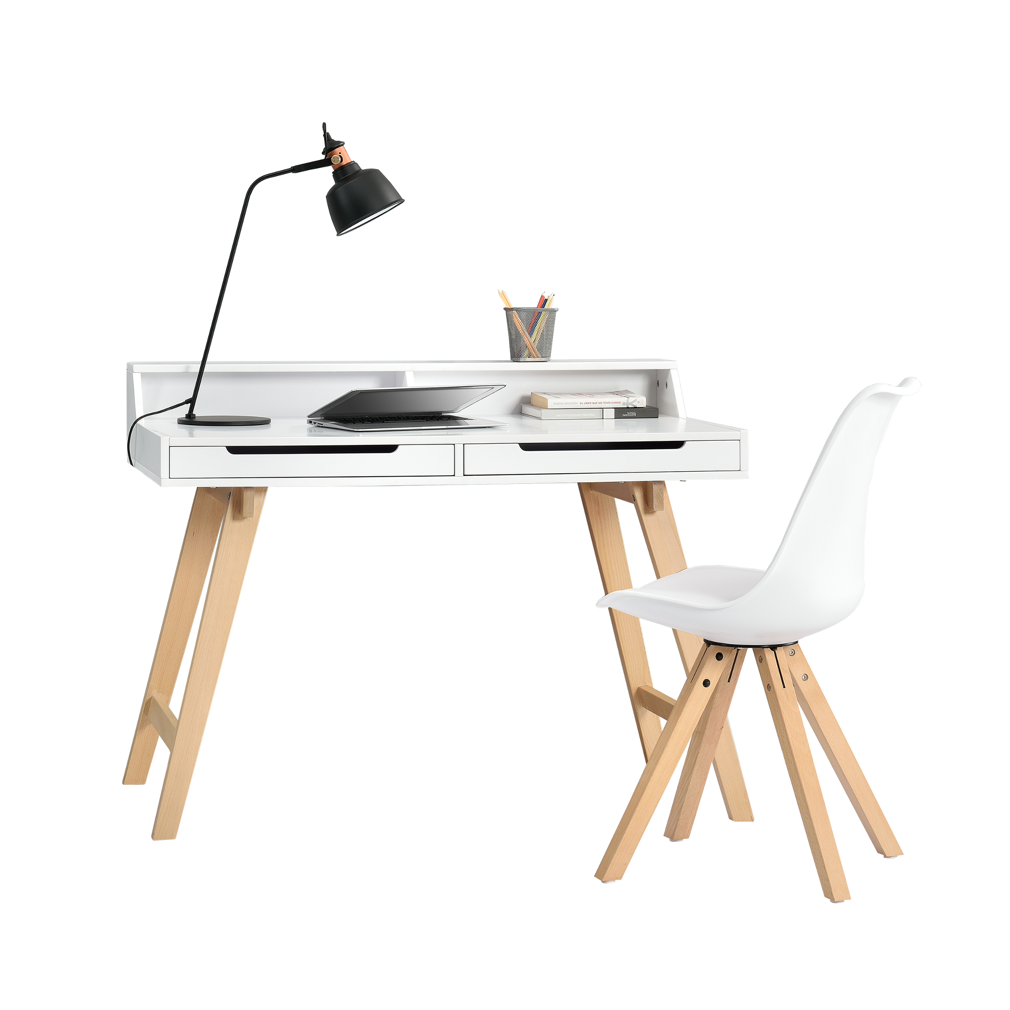 Retro escritorio con silla blanco mesa de port til - Mesa portatil ordenador ...