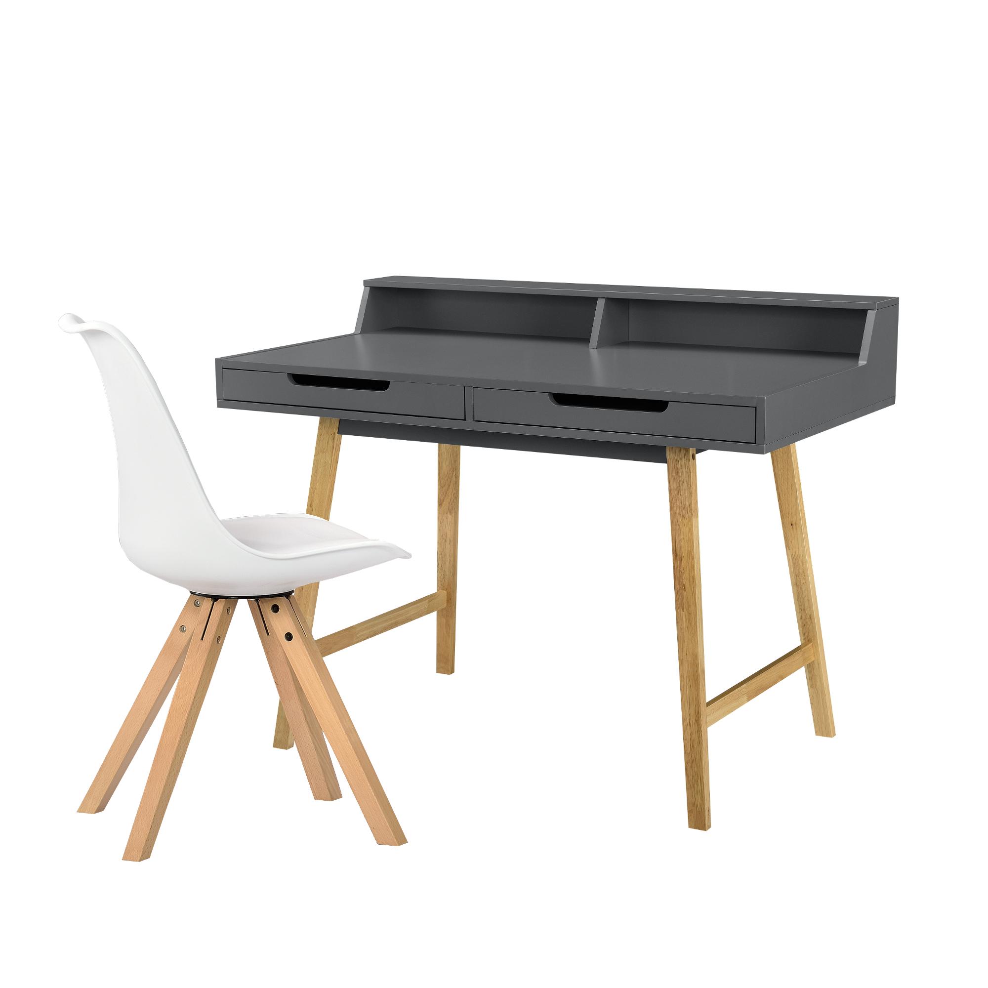 [en.casa]® Birou design retro Bremen, cu 2 sertare si 1 scaun, MDF/lemn fag/plastic, 85 x 110 x 60 cm, gri/alb