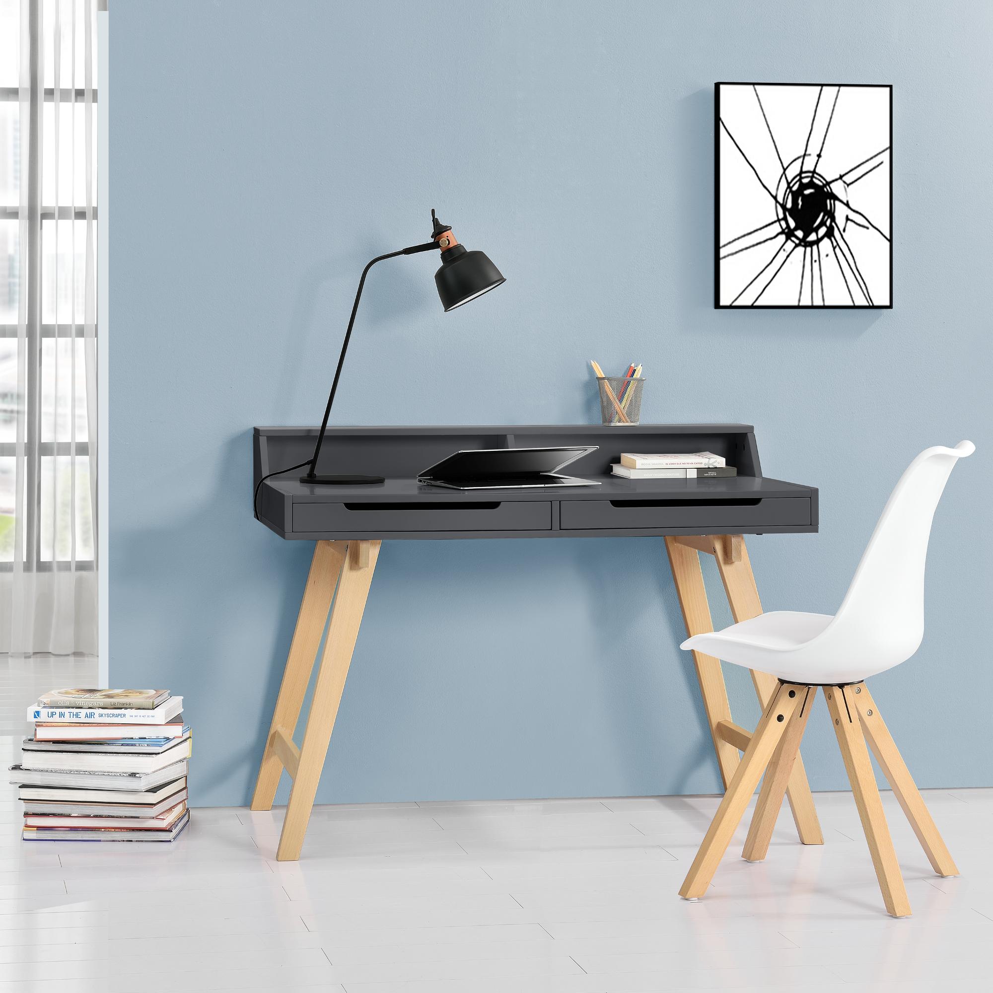 en.casa]® Retro Schreibtisch grau Buche Computertisch Büro Tisch ...