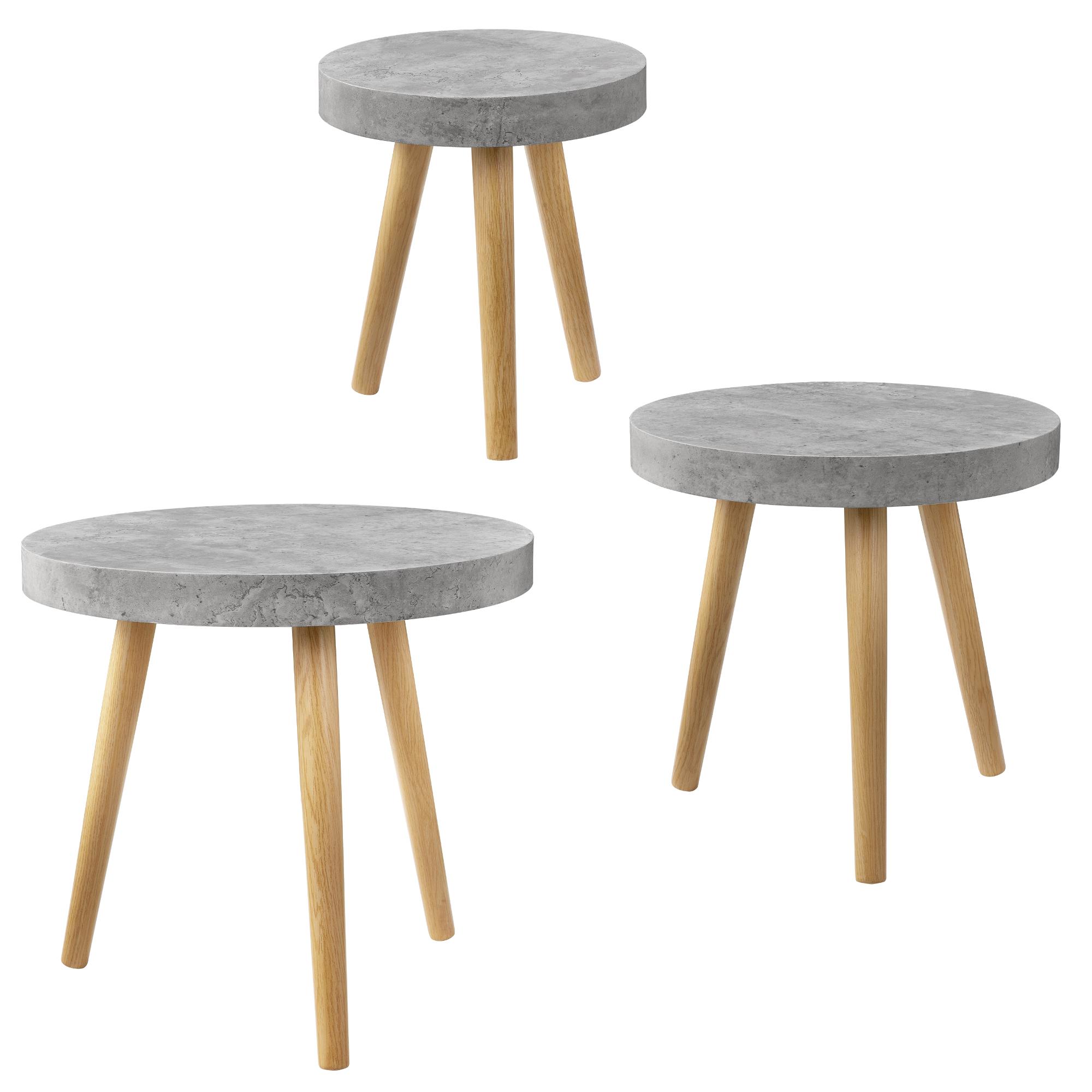 [en.casa] Coffee Table Set Of 3 Beton Grey Side Table Side