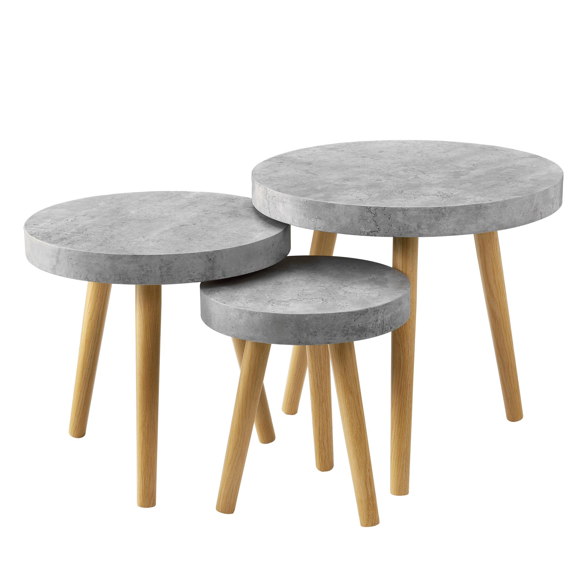 couchtisch 3er set beton grau beistelltisch beistell tisch wohnzimmer ebay. Black Bedroom Furniture Sets. Home Design Ideas