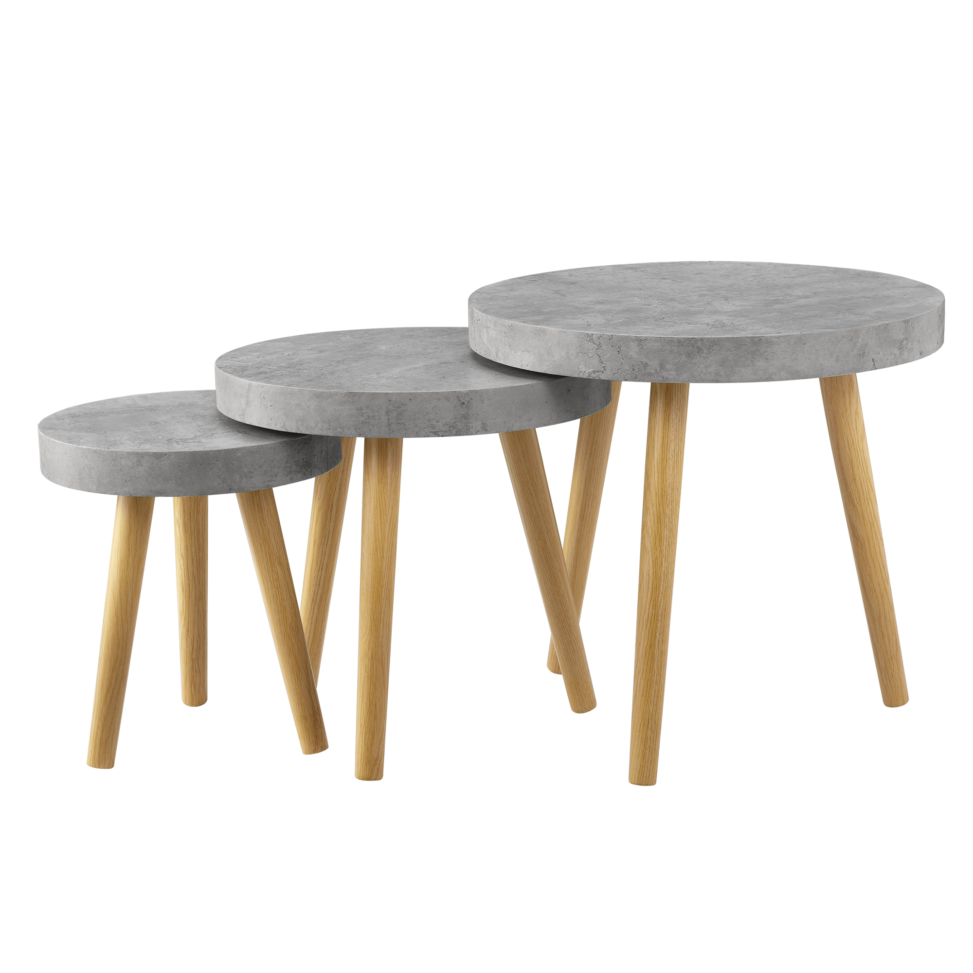 coffee table set of 3 beton grey side table side table living room ebay. Black Bedroom Furniture Sets. Home Design Ideas