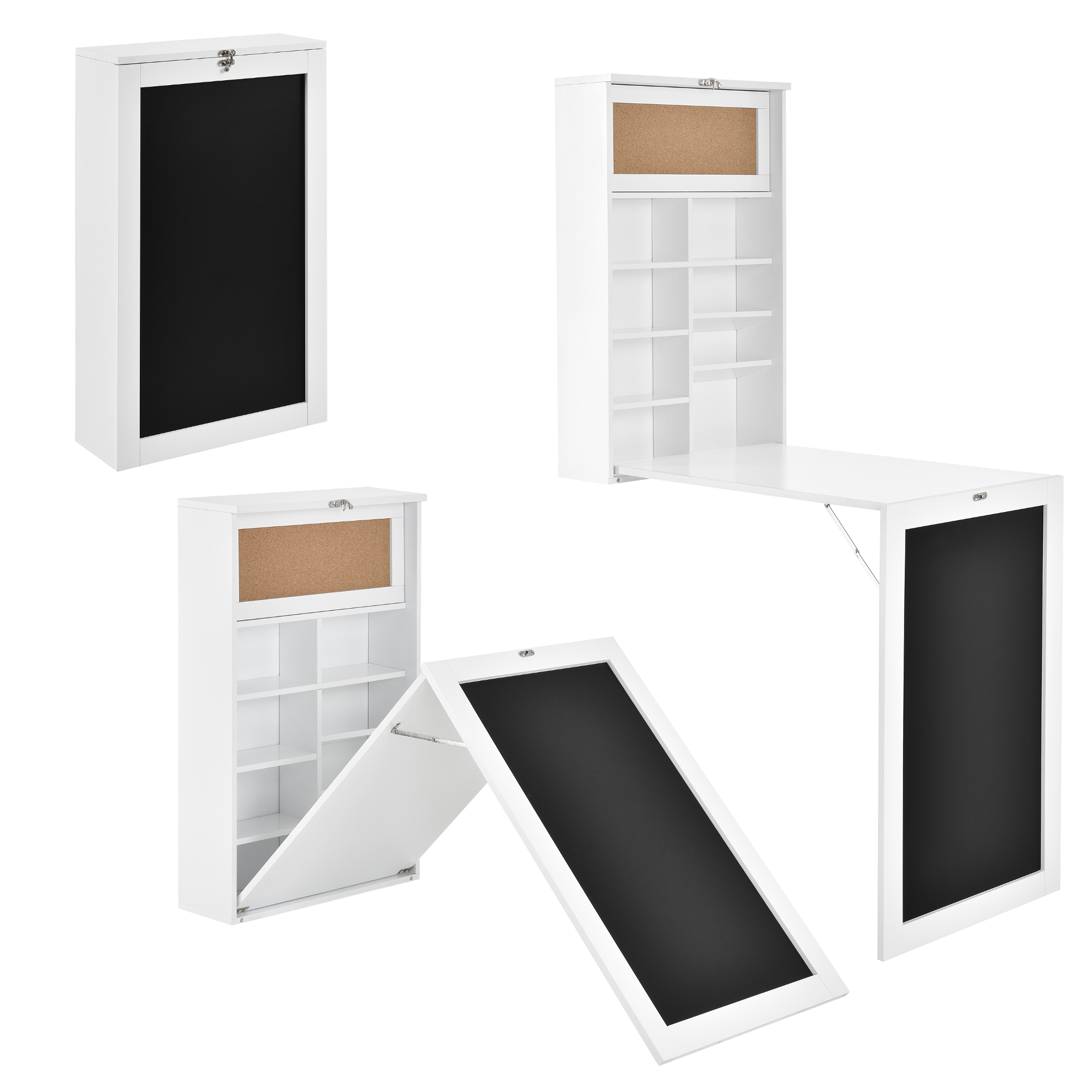 wall integrated desk computer table folding white with shelves space saving ebay. Black Bedroom Furniture Sets. Home Design Ideas