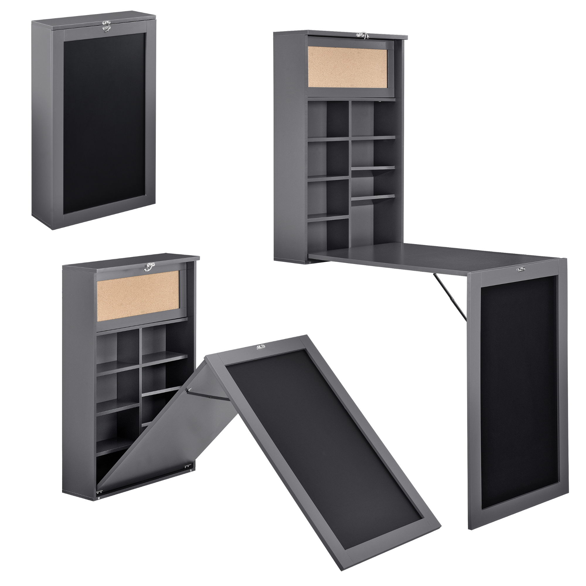 wandtisch grau schreibtisch tisch regal wand klapptisch aus klappbar ebay. Black Bedroom Furniture Sets. Home Design Ideas