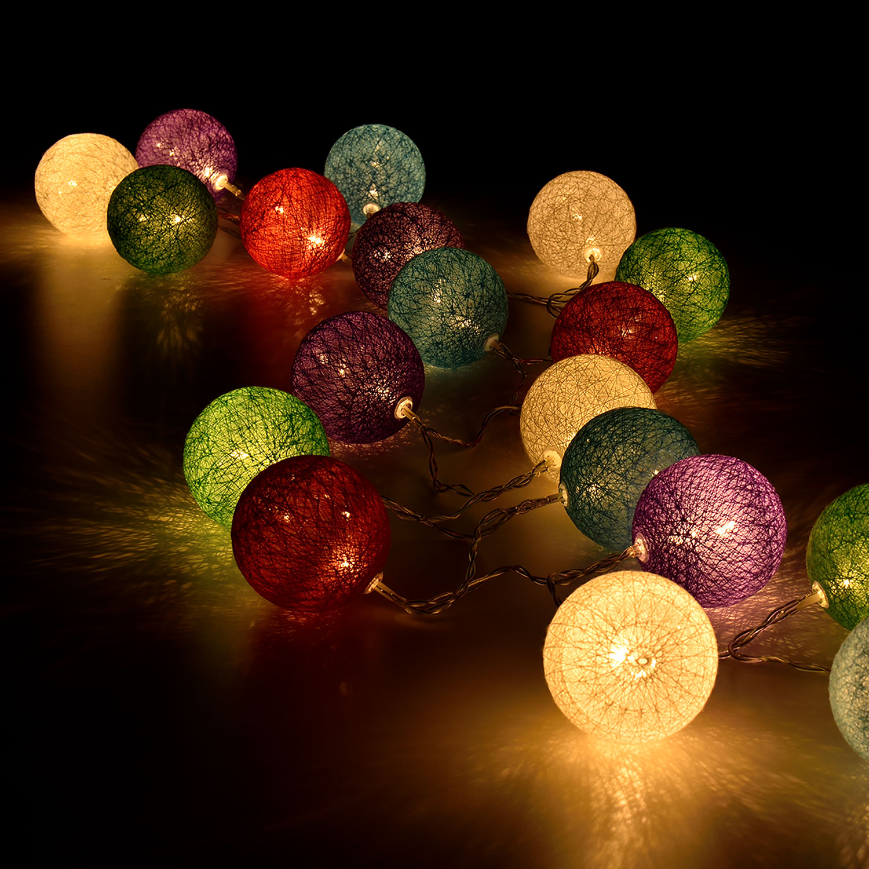 20 led kugeln kugelkette weihnachtsgirlande lichterkette beleuchtung ebay. Black Bedroom Furniture Sets. Home Design Ideas