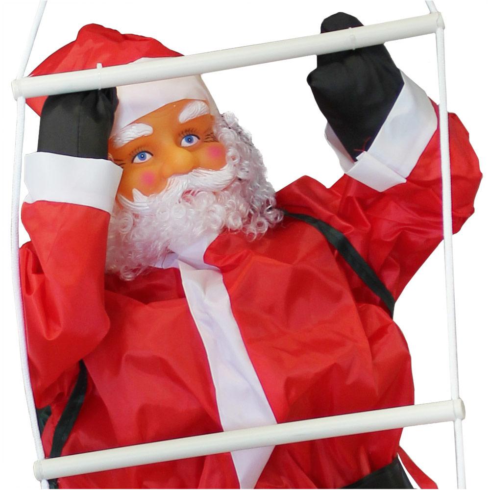 weihnachtsmann auf leiter 90cm weihnachts deko weihnachten figur nikolaus ebay. Black Bedroom Furniture Sets. Home Design Ideas