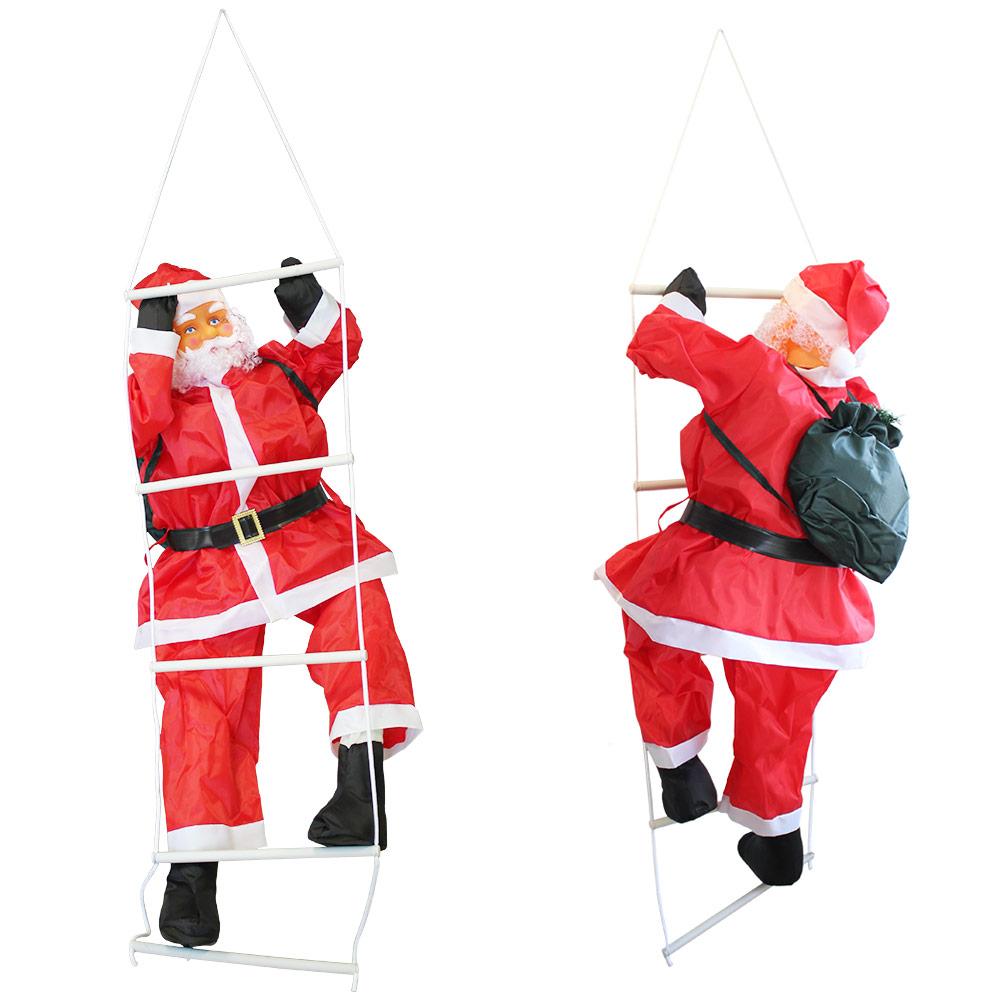 weihnachtsmann am seil leiter weihnachts deko weihnachten figur nikolaus rot ebay. Black Bedroom Furniture Sets. Home Design Ideas