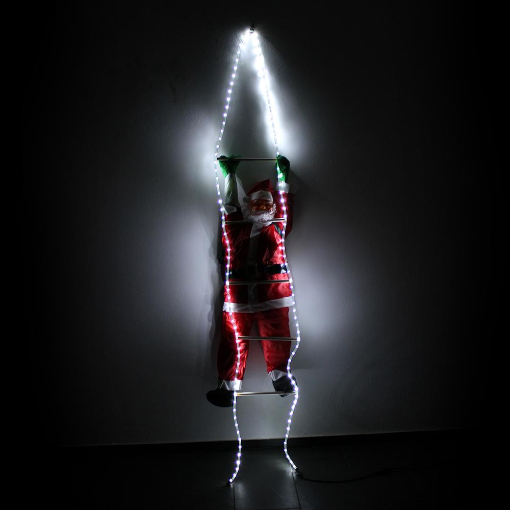 weihnachtsmann auf leiter 250cm led beleuchtet lichter deko weihnachten nikolaus ebay. Black Bedroom Furniture Sets. Home Design Ideas