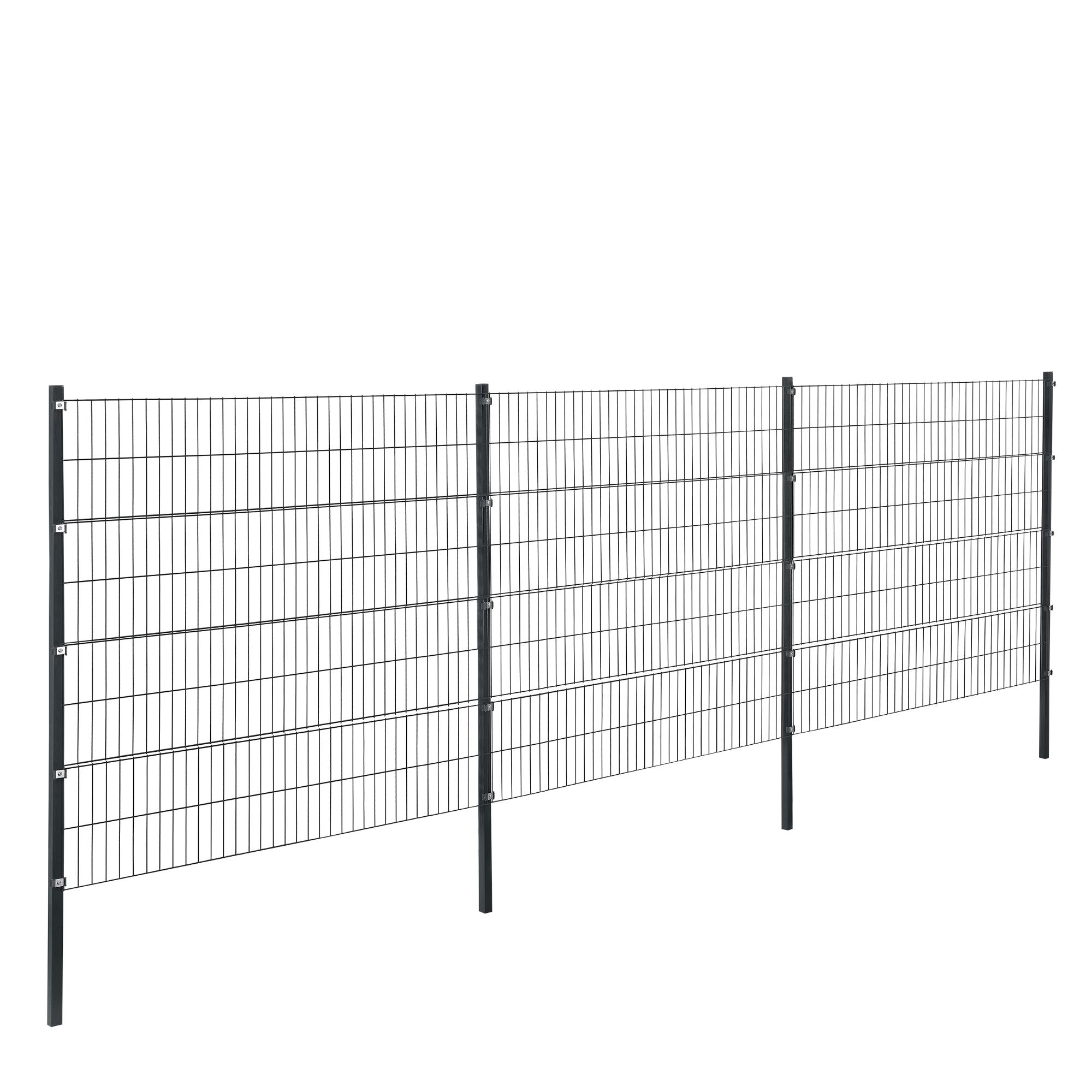 pro tec] Gartenzaun 6x1 6m Grau Doppelstab Zaun Set Gittermatten