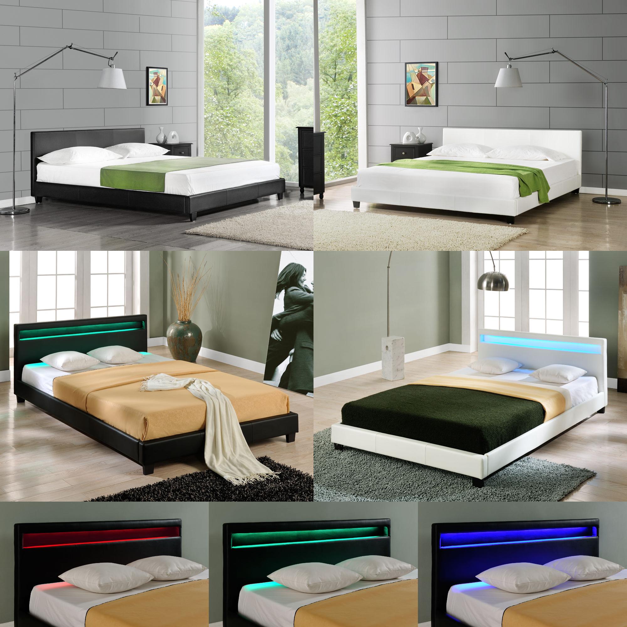 CORIUM® LED Polsterbett 140/160/180/200x200cm Bett Doppelbett Kunst ...