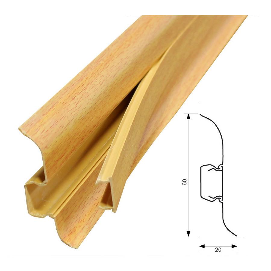 neu holz 2 5m sockelleiste 60mm fu leiste kabelkanal. Black Bedroom Furniture Sets. Home Design Ideas